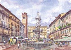 09 Verona - Piazza Erbe, fontana di Madonna Verona