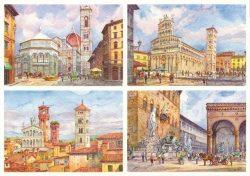 091 Quattro Immagini - Vedute particolari di Firenze e Lucca