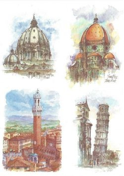 043 Quattro Immagini - Firenze, Roma, Siena, Pisa