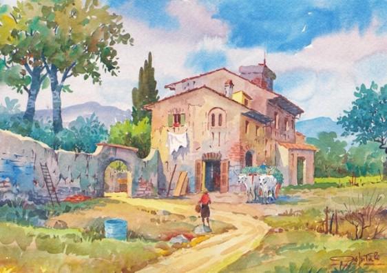 06q vita rurale a casa dopo il lavoro italian watercolor - Pulizia casa dopo lavori ...