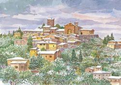1 Panzano in Chianti - Panorama sotto la neve Castello e Chiesa Parrocchiale