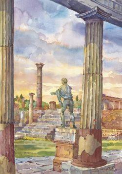 01 Pompei - Resti del Tempio di Apollo e statua del Nume