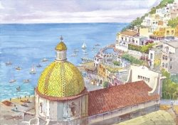 01 Positano - Cupola maiolicata di Santa Maria Assunta