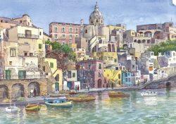 01 Isola di Procida - Marina di Corricella: Scorcio panoramico e cupola di Santa Maria delle Grazie