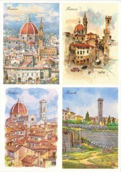 108 Quattro Immagini - Firenze, Vedute della città e Teatro Romano (Fiesole)