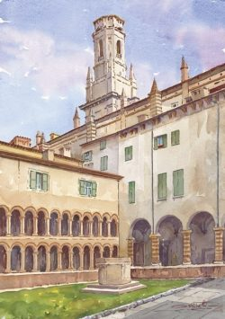 13 Verona - Chiostro Capitolare e Campanile del Duomo