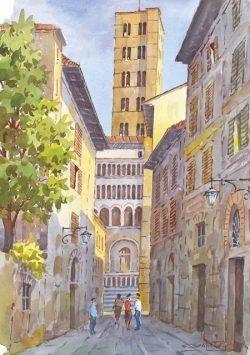 03 Arezzo - Vicolo con nello sfondo, il campanile della Pieve di Santa Maria