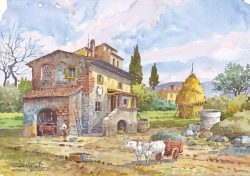 03 Vita Rurale - Casa colonica con, nell'aia, i buoi al carro, il pozzo e il pagliaio