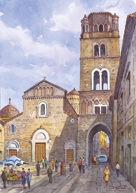 34 caserta la cattedrale italian watercolor for Progress caserta prodotti
