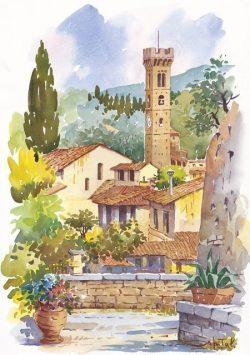 04 Fiesole - Il Campanile romantico da monte Ceceri