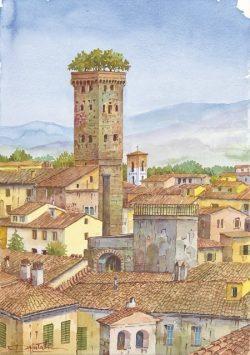 04 Lucca - Veduta parziale con la Torre Guinigi