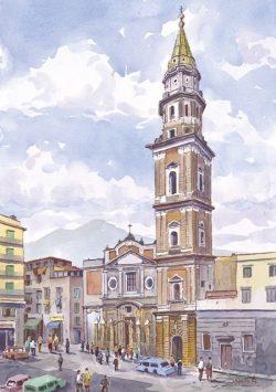 41 Napoli - Chiesa del Carmine con, sullo sfondo, il Vesuvio