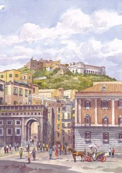 44 Napoli - Sant'Elmo e San Martino, da Piazza Plebiscito