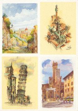 058q Quattro Immagini - Firenze, Siena, Pisa, San Gimignano
