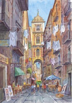 06 Napoli - Strada dei pastori e campanile di San Gregorio Armeno