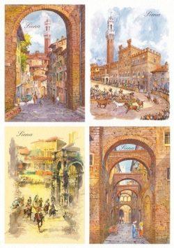 07 Quattro Immagini - Siena: Porta San Giuseppe, Corsa del Palio, Via della Galluzza