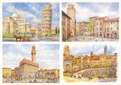084 Quattro Immagini - Pisa, Firenze, San Gimignano, Siena