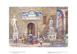 Poster 12 Firenze: Particolare del Palazzo Vecchio in piazza Signoria