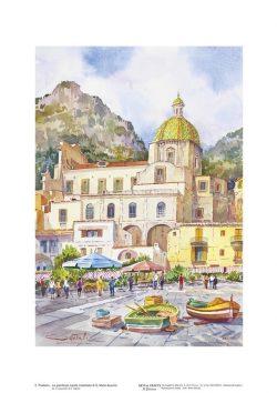 Poster 02 Positano: La grandiosa cupola maiolicata di Santa Maria Assunta