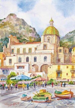 Poster 03 Positano: La grandiosa cupola maiolicata di Santa Maria Assunta