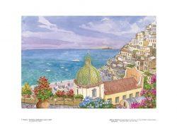 """Poster 07 Positano: Panorama caratteristico e isola """"Li Galli"""""""