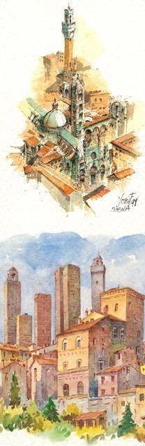 SL 16 Siena: Il Duomo, La Torre del Mangia - San Gimignano: Panorama