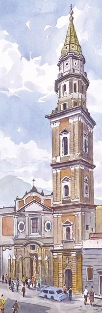 SL 08 Napoli - Chiesa del Carmine con, sullo sfondo, il Vesuvio
