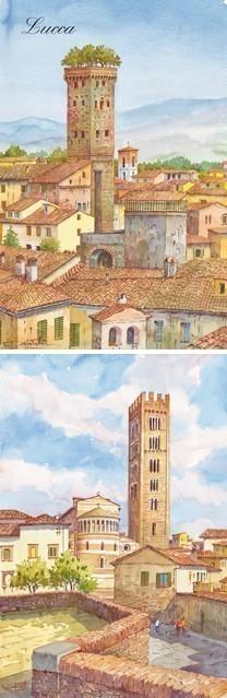 SL 02 Lucca - Veduta parziale con la Torre Giungi e Basilica di San Frediano
